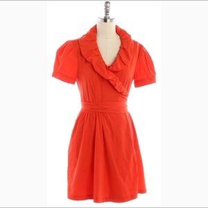 DVF bright orange Bethania short sleeve wrap dress